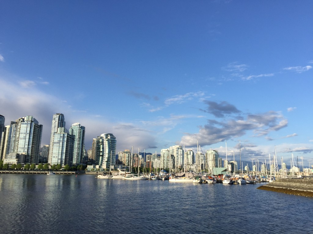 Vancouver skyline coming from near Granville Island