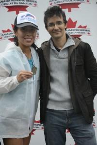 Cuski and I at the finish - I look like a wet rat!